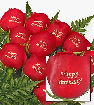 Impression sur rose : Happy Birthday