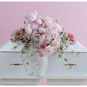 Small Soft Pink Casket with a Plush